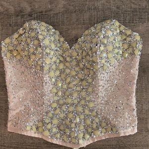 NWOT Terani Couture Beaded Corset Top, Small